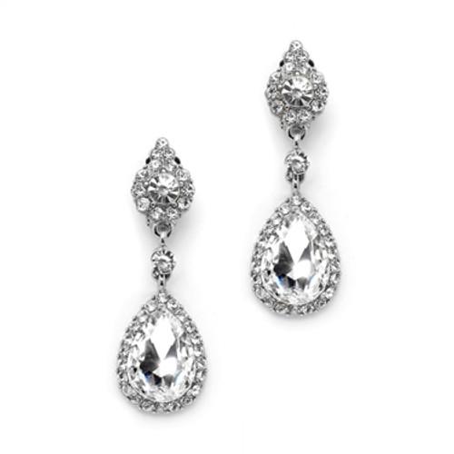 eaf387503b150 Mariell Crystal Clip-on Earrings with Teardrop Dangles 4532EC-S