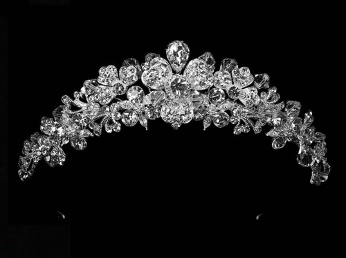 Noelle & Ava - Stunning Dimensional Hand Wired Orchid Tiara With Outsized Teardrop Cubic Zirconium, Heart Shaped Rhinestone Encrusted Leaves, Accented With Crystals