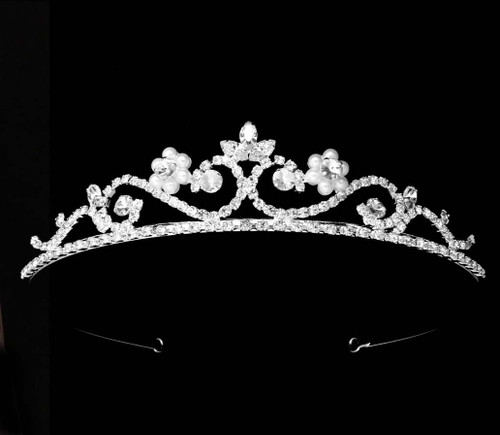 Noelle & Ava - Amorous Rhinestone Tiara With Curls, Crested With Marquise Rhinestone And Pearl flowers
