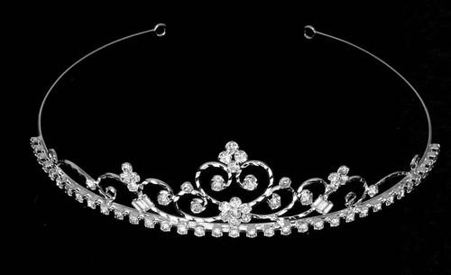 Noelle & Ava - Enchanting Tiara Of Heart & Curls, Embellished With Rhinestone Flowers & Baguette Rhinestones