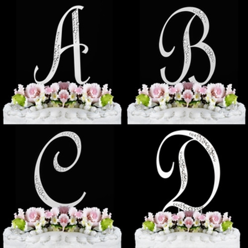 Wedding Factory Direct.Simple Sophisticated Crystal Initial Wedding Cake Top Sparkle
