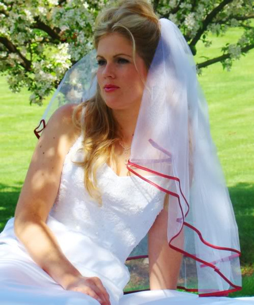 Wedding Factory Direct.Veil With Red Satin Ribbon Edge Veil Style 655