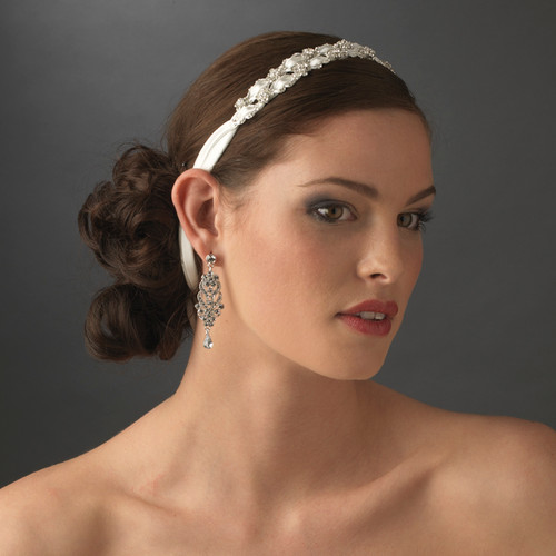 Stunning Crystal Flower Accented Bridal Ribbon Headband HP 6470 (White or Ivory)