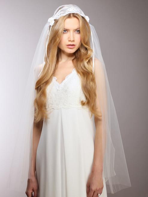 Ivory Vintage Lace Juliet Veil with Rosebuds, White Vintage Lace Juliet Veil with Rosebuds
