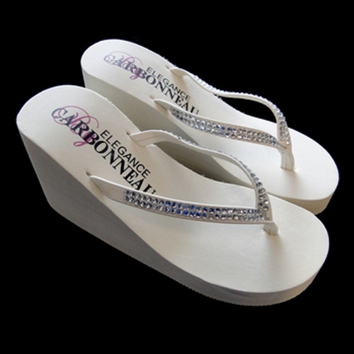 322075299 New Crystals ~ High Wedge Bridal Flip Flops with Crystal Accented ...