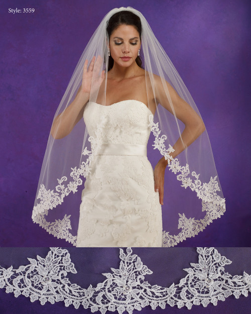 "Marionat Bridal Veils 3559 - 48"" Long venice lace veil, lace starts 18"" down - The Bridal Veil Company"