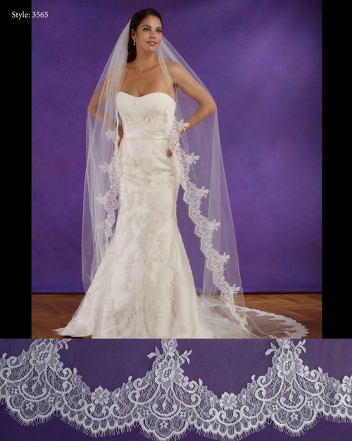 "Marionat Bridal Veils 3565 - 108"" Long chantilly lace veil, lace starts 19"" down - The Bridal Veil Company"