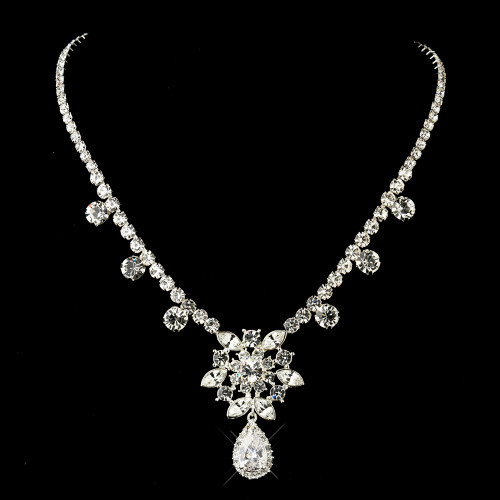 """Silver Clear """"Kim Kardashian"""" Inspired CZ Crystal Necklace 1538 - NECKLACE ONLY"""