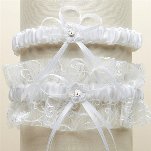 e13914e47 Vintage Wedding Garter Set with Floral Embroidered Tulle - White G018-W-W