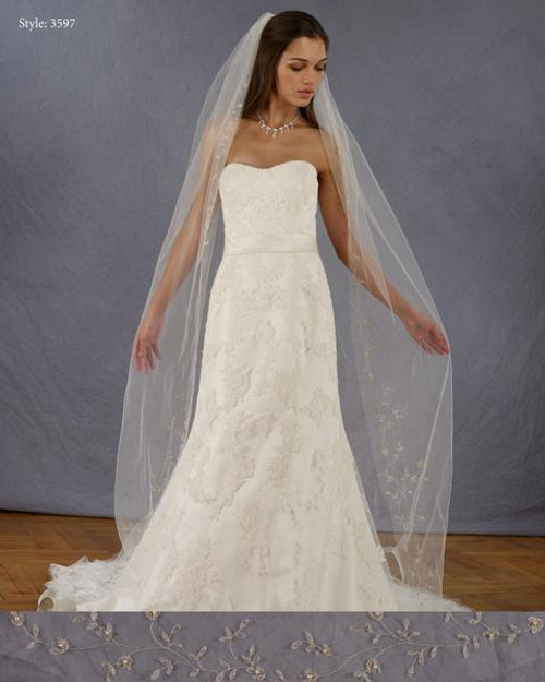 """Marionat Bridal Veils 3597 - 108"""" Embroidered design with pink beads and pearls"""