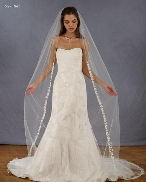 "Marionat Bridal Veils 3616 - 108"" Embroidered veil"