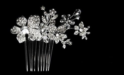 Noelle & Ava Joyfully arranged flower comb with lavishly abundant rhinestone flowers