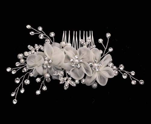 Noelle & Ava Hand wired hair comb with chiffon bubble flower. Ivory or Red