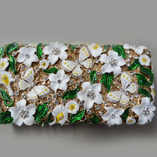 Elena Designs Metal Beaded Floral Clutch EBG01