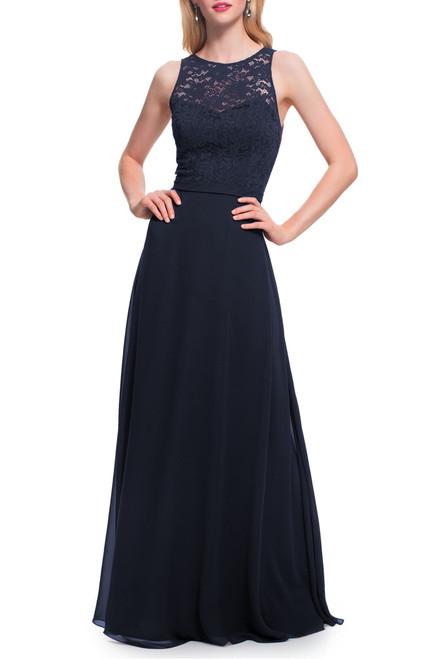 LEVKOFF Bridesmaid Dress Style 7027 - Wine - Chiffon/Lace - In Stock Dress