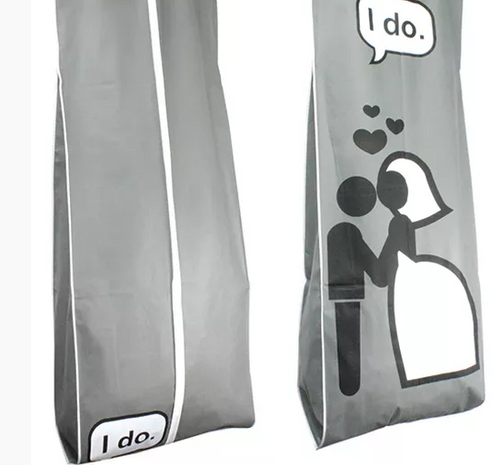 """I do"" Breathable Fabric Garment Bag - 72"" Inches Long w/Gusset"