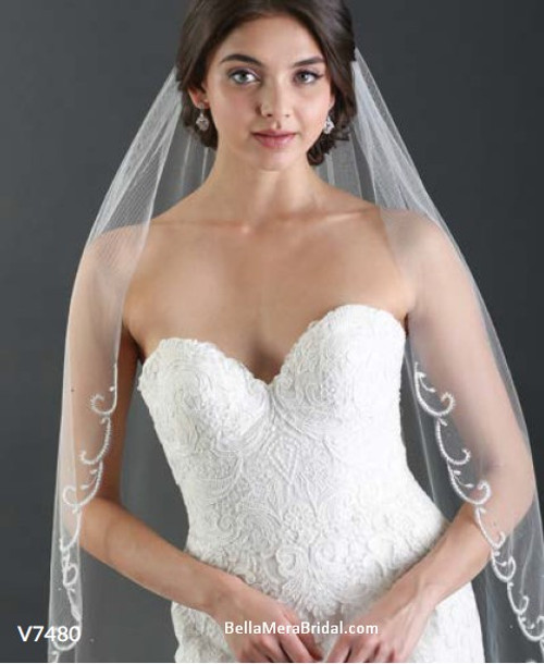 Bel Aire Bridal Veils V7480 - 1-tier fingertip with frosted beaded scrolls