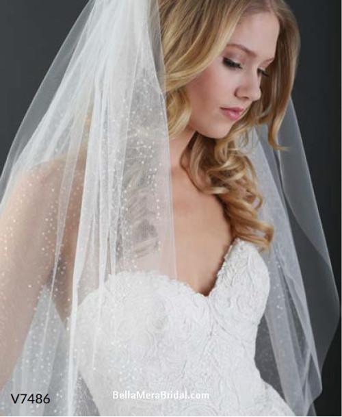 Bel Aire Bridal Veils V7486 - 2-tier cut edge elbow veil with sparkle ... e17e657083ea