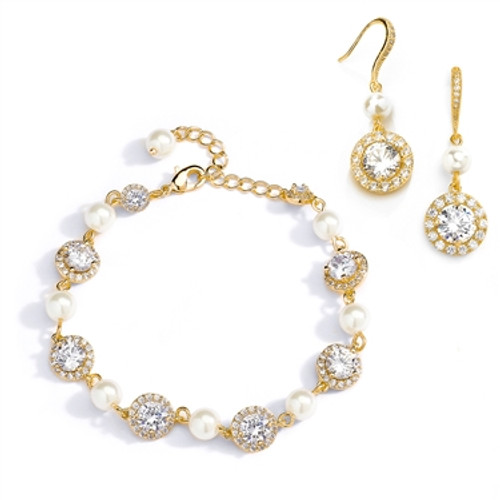 3772e2d97 Ivory Pearl and Cubic Zirconia Bridal Bracelet and Earrings Set in 14K Gold  4580BS-I-G