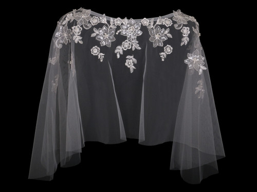 En Vogue Bridal Capelet CP1828 - Lace and beaded appliques