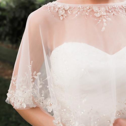 En Vogue Bridal Capelet CP1824 - Emroidered and beaded design