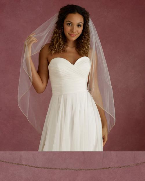 "Marionat Bridal Veils 3669F - 42"" Long embroidered edge - The Bridal Veil Company"