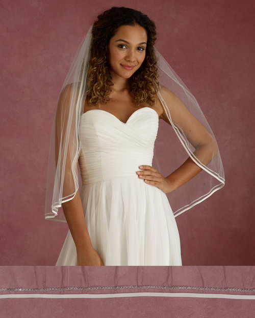 "Marionat Bridal Veils 3670 - 34"" Long bias satin and rhinestone edge - The Bridal Veil Company"