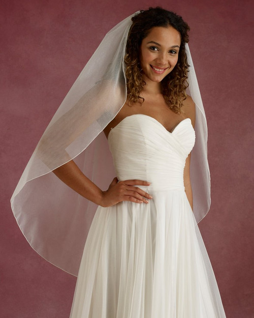 "Marionat Bridal Veils 3672 - 42"" Long glitter veil with rolled edge - The Bridal Veil Company"