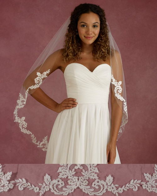 "Marionat Bridal Veils 3674 - 40"" Long lace veil with pearls and rhinestone - The Bridal Veil Company"