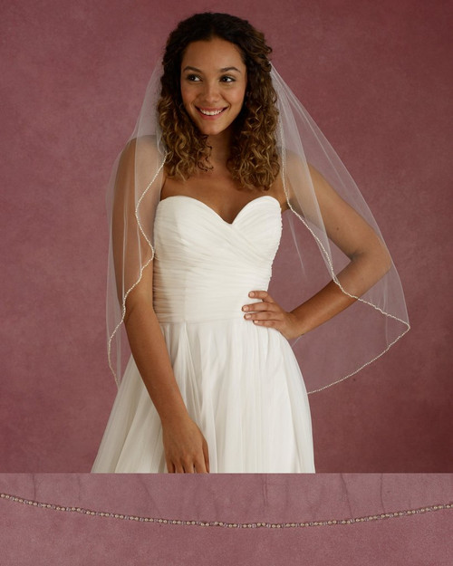 "Marionat Bridal Veils 3675 - 32"" Long champagne pearl and crystal edge - The Bridal Veil Company"