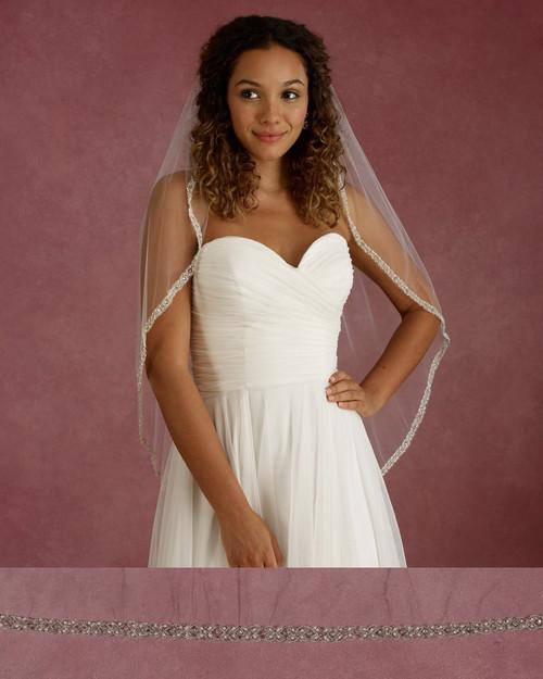 "Marionat Bridal Veils 3679 - 36"" Long rhinestone and pearl embroidered edge - The Bridal Veil Company"