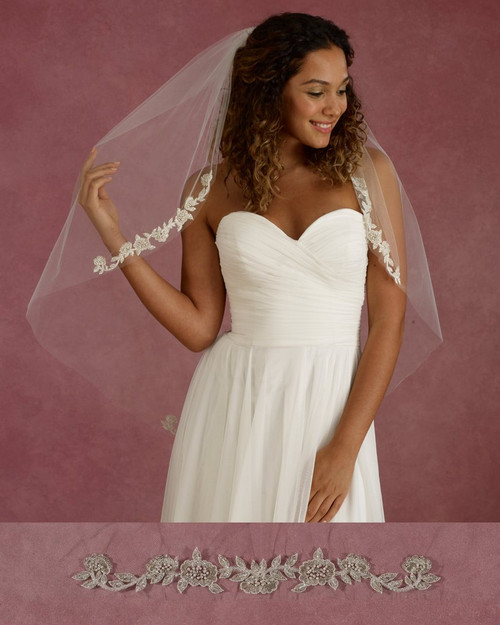 """Marionat Bridal Veils 3681 - 36"""" Long beaded embroidered flower appliques - The Bridal Veil Company"""