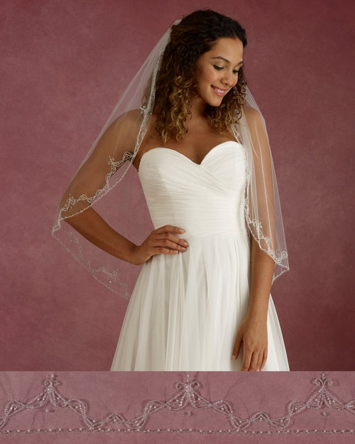 "Marionat Bridal Veils 3683 - 33"" Long beaded pearl design - The Bridal Veil Company"