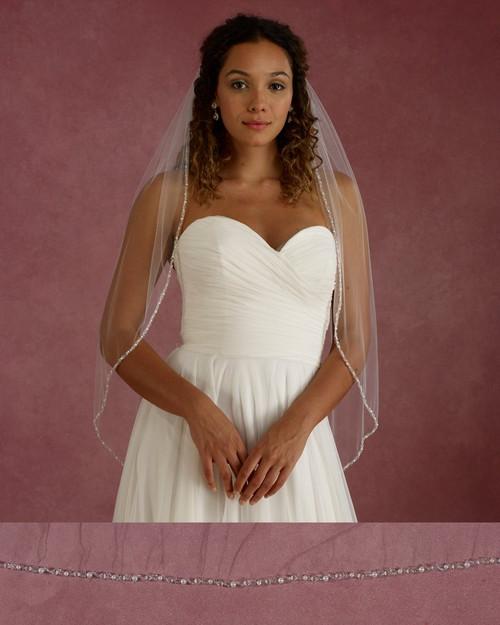 "Marionat Bridal Veils 3684 - 36"" Long beaded, pearl, crystal edge - The Bridal Veil Company"