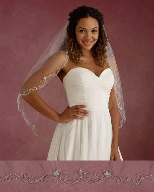 "Marionat Bridal Veils 3685 - 36"" Long beaded design - The Bridal Veil Company"