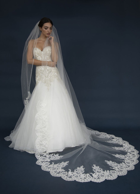 Elena Designs Wedding Veil Style 1303 - Lattice lace Cathedral Veil