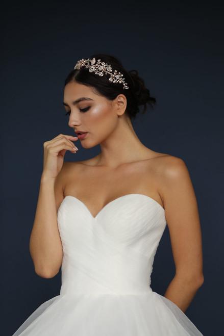 Elena Designs Headpiece E936 - Floral rhinestone headband