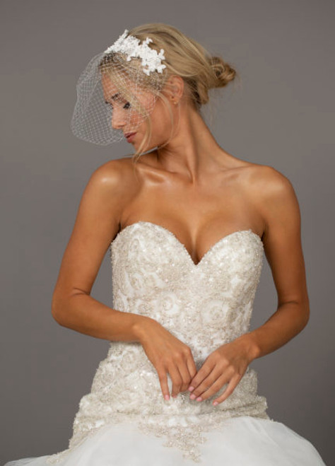 Ansonia Bridal Headpiece HP8847 - Lace flower applique with Russian tulle blusher