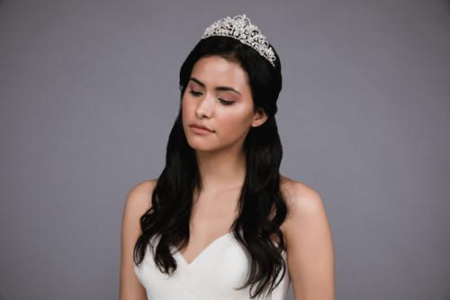 Ansonia Headpiece HP8807 - Rhinestone and pearl tiara