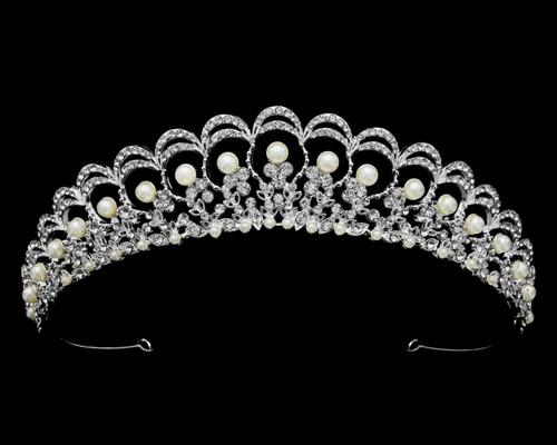 """Bella Mera Studio Tiara - Tiara with Rhinestones & Pearls - 1.25""""H"""