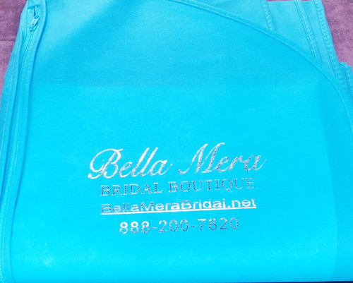 Fabric Water Resistant Breathable Wedding Garment Bag - Turquoise & Silver