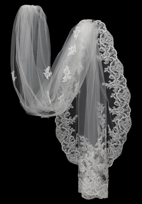"Bella Mera Studio - Galina Cathedral Beaded Lace Applique Veil - Scallop Edge (108""L)"