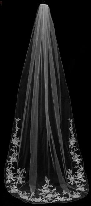 "Bella Mera Studio - 3D Flower Lace Cathedral Veil - 108"" Long"