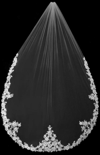 "Bella Mera Studio - French Alencon Lace Cathedral Wedding Veil -  (108""L)"