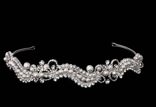 Bella Mera Studio - Charming Artistic Headband Of Shimmering Crystals, Rhinestones And Pearls