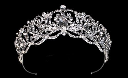 """Bella Mera Studio - 1.75""""H Royal Rhinestone Tiara Crown With Large Oval Crown Jewelry"""