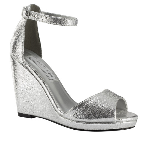 Touch Ups Holly Silver Wedge Heel with Strap - 4343