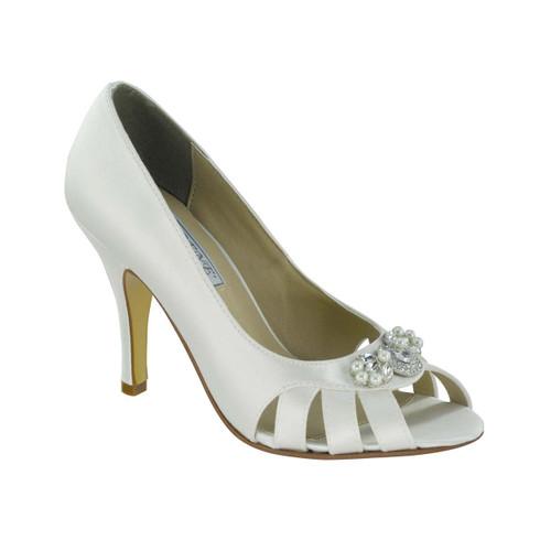 Liz Rene Janet White Silk Heel Shoe - 701