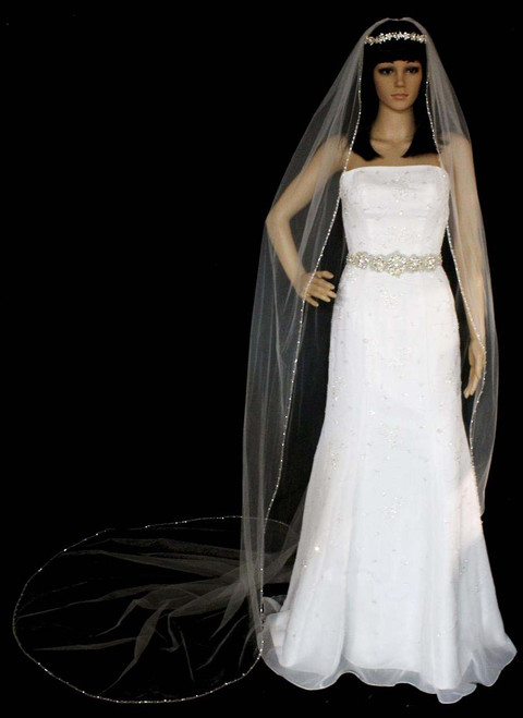 Noelle & Ava Collection -  120 Inches - Attractive Cathedral Veil With Swarovski Crystals And Double Twisted Shining Bugle Beads Along Silver Edge