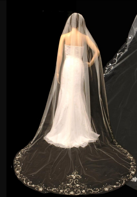 Noelle & Ava Collection - 108 Inches - Heavy Beaded Edge Veil - Crystals, Marquis Stone, Sequins, Pearls